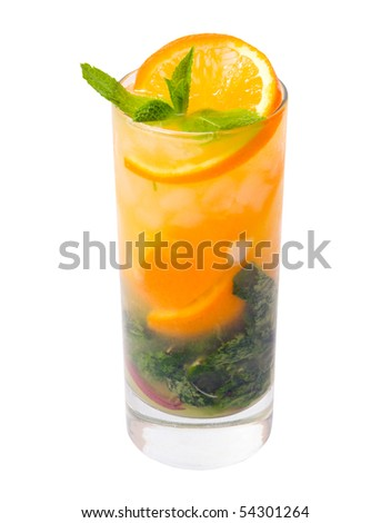Mojito orange cocktail.isolated on white background.clipping Path - stock photo