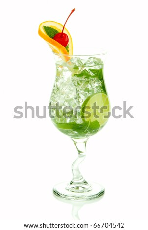 Mojito tropical cocktail with bacardi light rum, vodka, lime, spring of spearmint, simple soda and syrup in cocktail glass isolated on a white background - stock photo