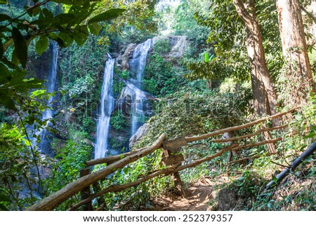 Mok Fa waterfall is tourist attraction and one of the most beautiful waterfall in Chiang Mai, Thailand. - stock photo