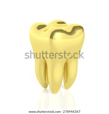 Molar golden tooth isolated on white background - stock photo