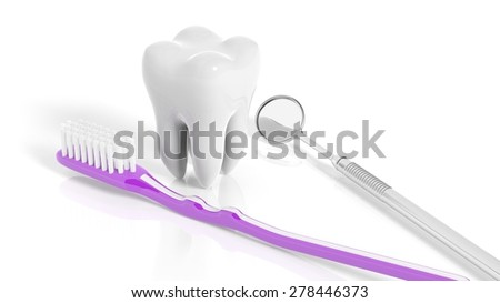 Molar tooth with dental mirror and toothbrush isolated on white background - stock photo