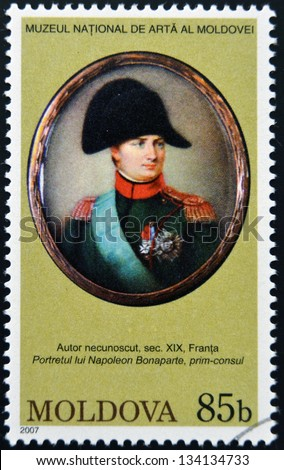 MOLDOVA - CIRCA 2007: Stamp printed in Moldova dedicated to works from the National Museum of Art, shows Napoleon Bonaparte, circa 2007 - stock photo