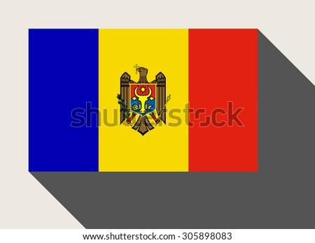 Moldova flag in flat web design style. - stock photo
