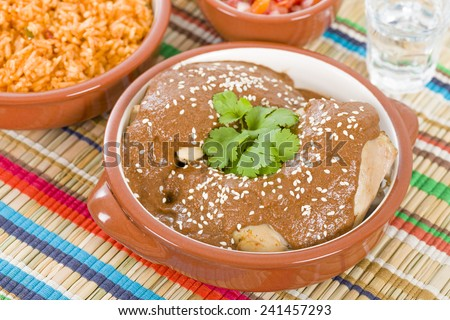 Mole Poblano - Chicken with mole sauce and side dishes. Traditional Mexican food. - stock photo