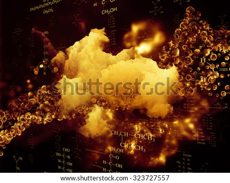 Molecular Dreams series. Composition of conceptual atoms, molecules and fractal elements on the subject of biology, chemistry, technology, science and education - stock photo