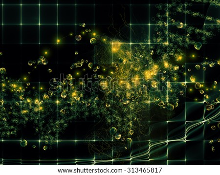 Molecular Dreams series. Graphic composition of conceptual atoms, molecules and fractal elements to serve as complimentary design for subject of biology, chemistry, technology, science and education - stock photo