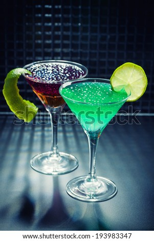 Molecular mixology - whisky, strawberry and mint Cocktail with  caviar  - stock photo