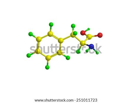 Molecular structure of L-phenylalanine (F, Phe) - stock photo