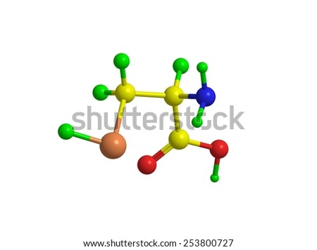 Molecular structure of selenocysteine (important biogenic amino acid) - stock photo