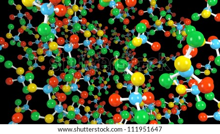 Molecule isolated on black - stock photo