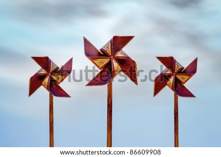Molinos de viento de juguete - stock photo