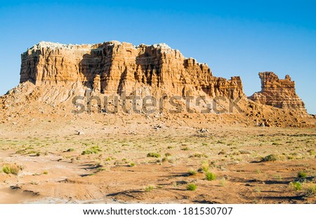 Molly's Castle is a striking rock formation in the Utah desert accessible via four wheel drive vehicles. - stock photo