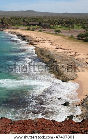Molokai Hawaii Resort and Coastline - stock photo
