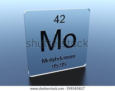 Molybdenum symbol on a glass square - stock photo