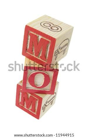 Mom Alphabet Blocks on White Background - stock photo