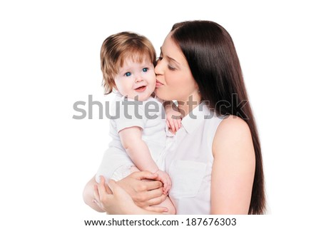 Mom and baby on a white background - stock photo