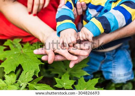 Mom and Dad hold baby's hand,  Family walk in the park - stock photo