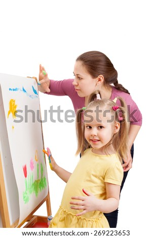 mom and daughter together paint finger paints - stock photo