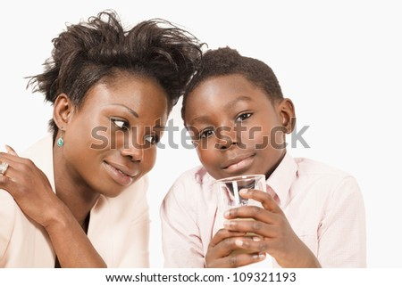 Mom and son share a loving moment - stock photo