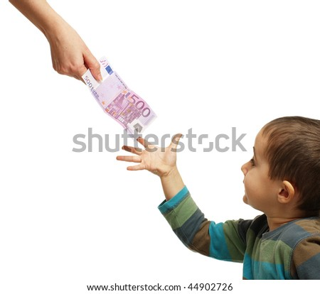 Mom gives pocket money to his son, isolated on white - stock photo