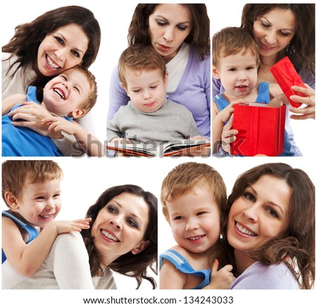 Mom plays with her son - stock photo
