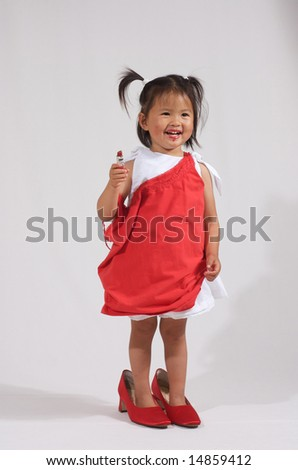 mommy's sweet little girl - stock photo