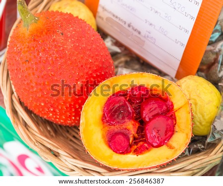 momordica made fruit juice for good health - stock photo