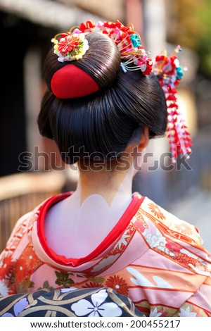 Momoware - traditional hairstyle of a young Maiko - stock photo