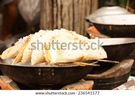 Mon crispy pancake at kanchanaburi, Thailand - stock photo