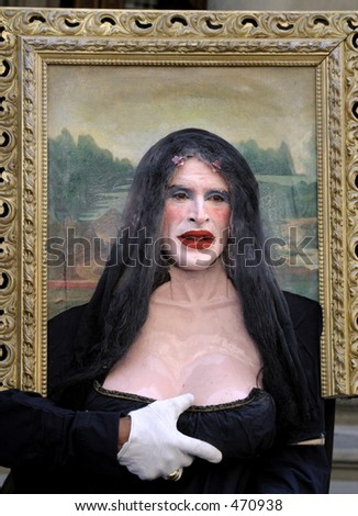 Mona Lisa Mime in Florence Italy - stock photo