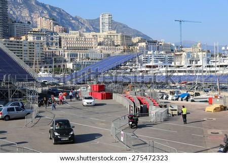 MONACO - APRIL 13, 2015: Preparations for the Monaco Grand Prix 2015. The Monaco Grand Prix is a Formula One motor race held on Circuit de Monaco, a narrow course laid out in the streets of Monaco. - stock photo