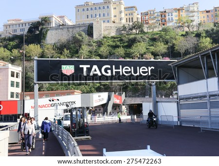 MONACO - APRIL 13, 2015: Tag Heuer ad for the Monaco Grand Prix 2015. The Monaco Grand Prix is a Formula One motor race held on Circuit de Monaco, a narrow course laid out in the streets of Monaco. - stock photo
