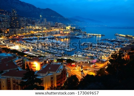Monaco at dusk. - stock photo