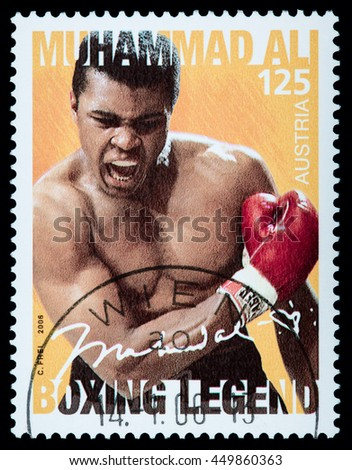 MONACO - CIRCA 2014: A postage stamp printed in Vienna Austria portraying an image of Muhammad Ali when he knocked out Sony Liston during a boxing match in 1964, circa 2006 - stock photo