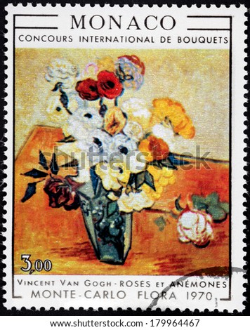 MONACO - CIRCA 1970: A stamp printed by MONACO shows picture Roses and Anemones by Dutch  Post-Impressionist painter Vincent Van Gogh, circa 1970. - stock photo