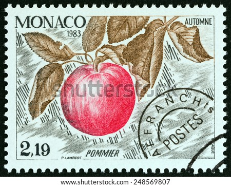 """MONACO - CIRCA 1983: A stamp printed in Monaco from the """"The Four Seasons of the Apple Tree """" issue shows Autumn, circa 1983.  - stock photo"""