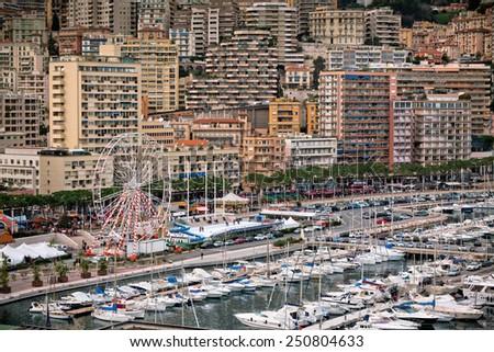 Monaco Harbour, Monte Carlo, view. Horizontal shot - stock photo