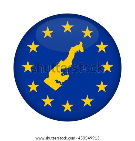Monaco map on a European Union flag button isolated on a white background. - stock photo
