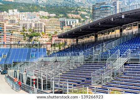 MONACO - MAY 02: Three weeks until of opening the Grand Prix Automobile F1 on May 02, 2013 in Monaco. This year Grand Prix Automobile F1 will be from May 23 to May 26, 2013  - stock photo