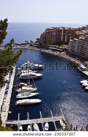 MONACO, MONTE CARLO. Fontvieille - Luxury bay in Monte Carlo in the Principality of Monaco in Europe. - stock photo