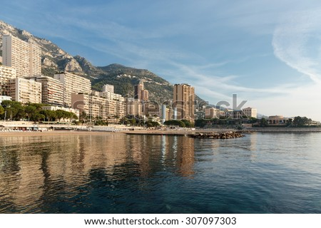 MONACO - NOVEMBER 2, 2014: Panoramic view of the beach in Monte Carlo, Monaco. Principality of Monaco is a sovereign city state, located on the French Riviera - stock photo