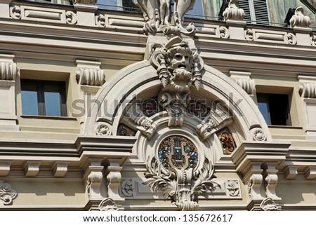Monaco, Seaside facade of the Salle Garbier, home of the opera de Monte Carlo, Southern Europe - stock photo