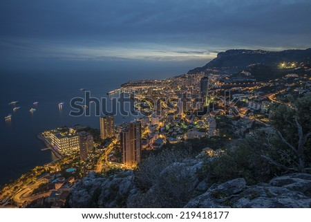 monaco sunset - stock photo