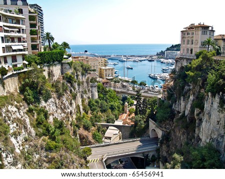 Monaco, view from the railroad station to port Hercule - stock photo