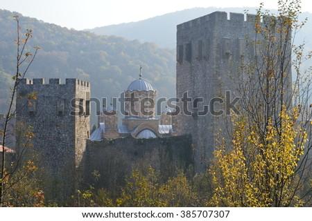 Monastery of Serbian Orthodox Church, Manasija - stock photo