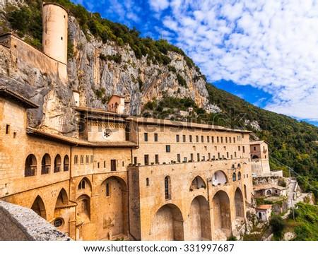 Monastery of St. Benedict near Subiaco, Lazio, Italy  - stock photo
