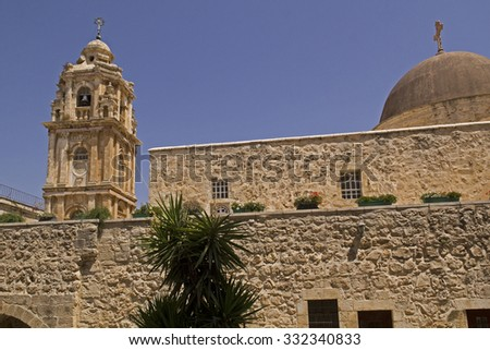 Monastery of the Holy Cross is an Orthodox monastery in Jerusalem and located in the Valley of the Cross.Now it is occupied by monks of the Jerusalem Patriarchate. - stock photo