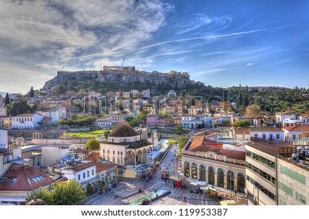 Monastiraki square and Acropolis in Athens,Greece - stock photo