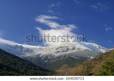 Moncayo summit, 2316 m., Moncayo Natural Park, Zaragoza, Aragon, Spain - stock photo
