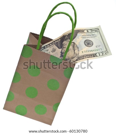 Money and a Gift Bag Symbolize a Gift Giving Budget Concept.  Isolated on White with a Clipping Path. - stock photo